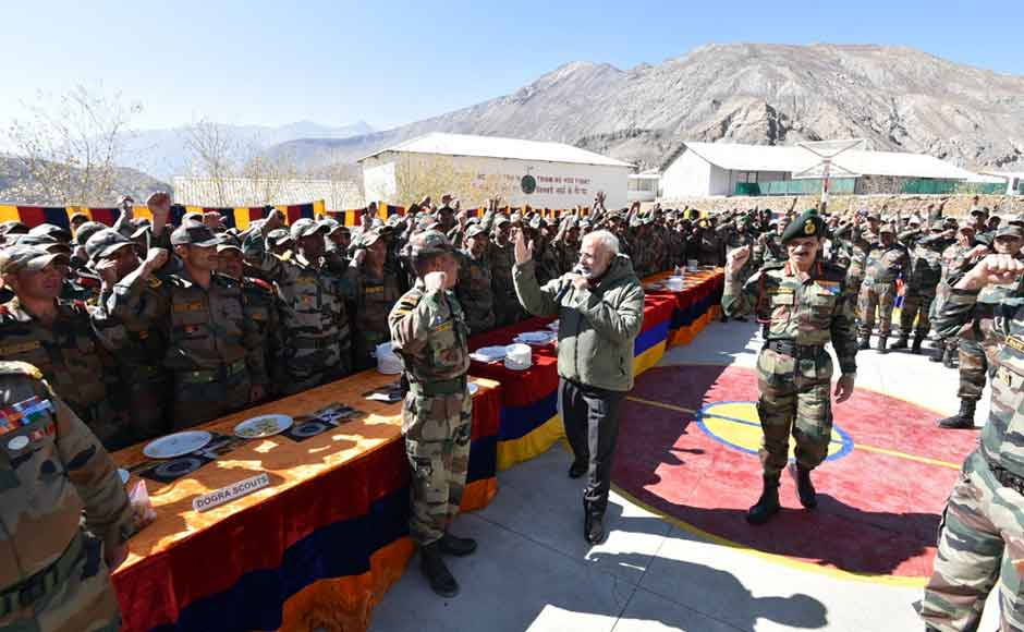 """""""In the wake of recent events, our soldiers have been sacrificing their everything for the safety and security of the country. Their dedication and labour have overwhelmed me completely. Let us dedicate this Diwali to our armed forces."""" PM Modi said."""