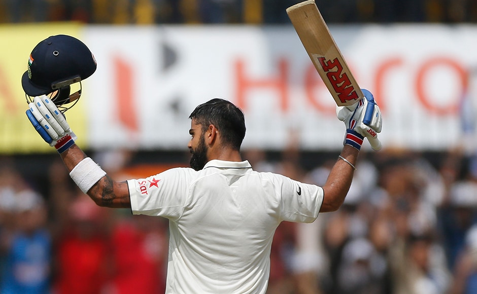 Virat Kohli along with Ajinkya Rahane put together a partnership of 365 and helped India post a mammoth 557 in their first innings against New Zealand on Day 2 of the third Test at Indore. AP