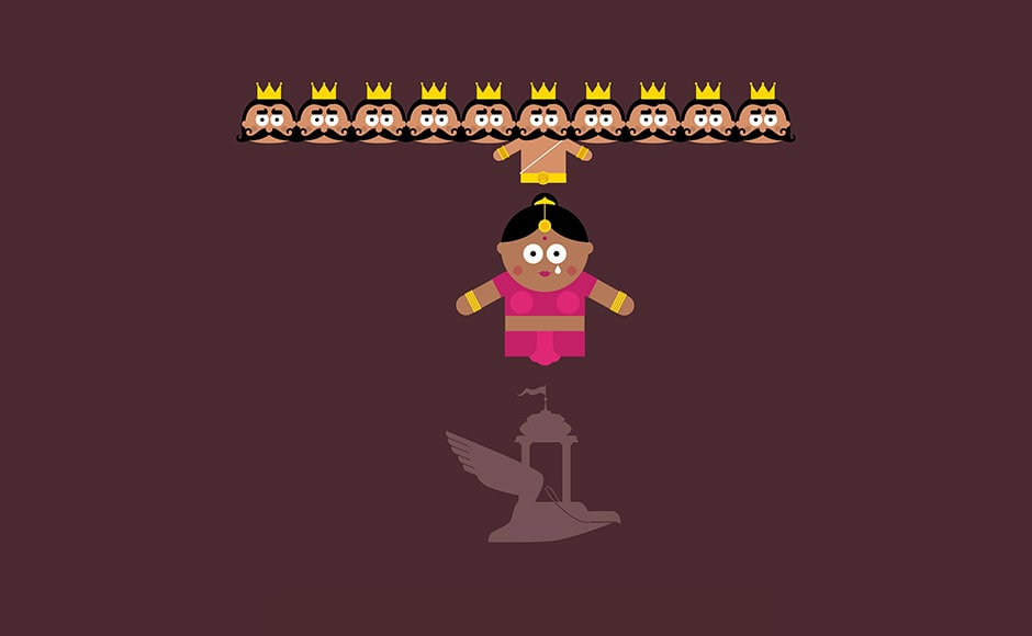 Ravan changed back to the demon king. He dragged her into his flying chariot and took flight.