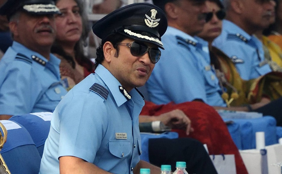 Sachin Tendulkar at the 84th Air Force Day parade. Strike aircraft Jaguar, Hawk Advanced Jet Trainer, Mig-21 Bison, which have been upgraded and Mi-17 V5 choppers along with transport jets and radars, displayed the IAF's strike capability at the parade. Naresh Sharma