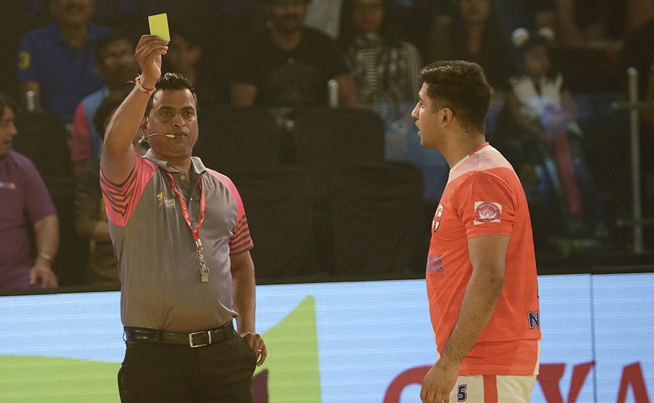 England's Nikesh Farmah is shown the yellow card during the match against Bangladesh at Kabaddi World Cup 2016. AFP