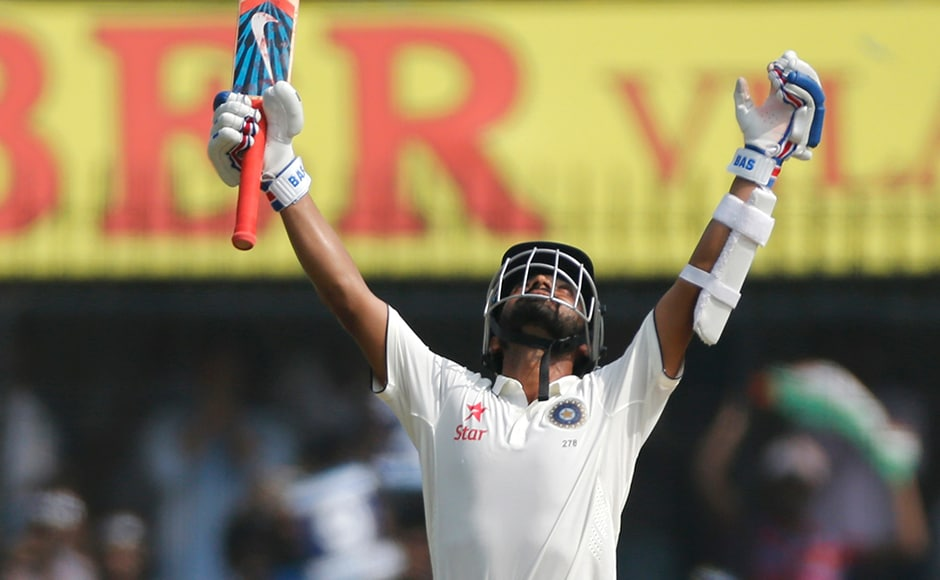 India's vice-captain Ajinkya Rahane celebrates his eigth century in Test cricket. He missed his double ton by 12 runs. AP