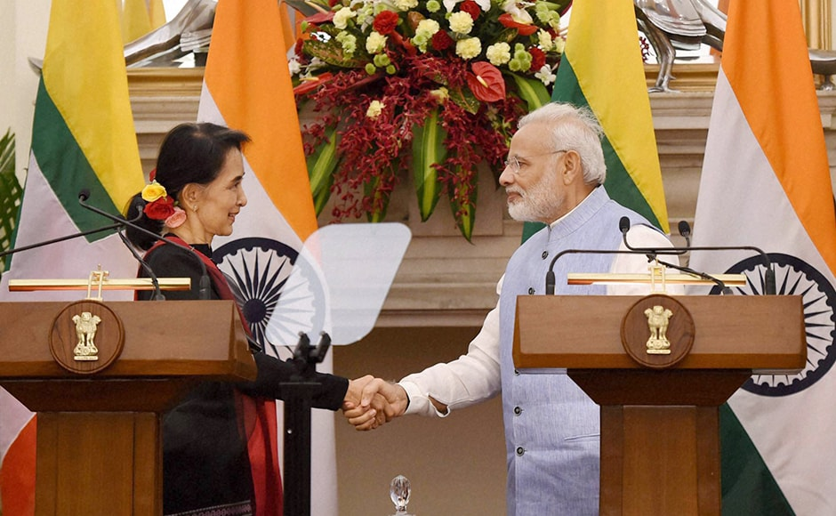 India and Myanmar signed three agreements following the talks between the leaders. This is the first official visit of Suu Kyi to New Delhi since her National League for Democracy (NLD) assumed power in Myanmar in March this year. Photo: PTI