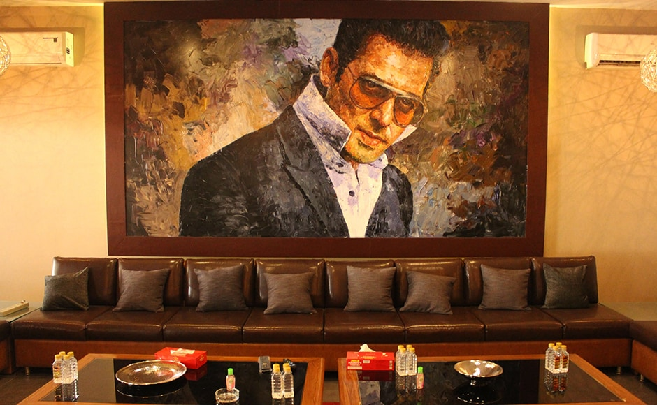 Portraits of Salman Khan in warm tones grace the entire bungalow. The Bigg Boss host is known to be fond off painting so he might be pleased with these personal touches. Firstpost/Seema Sinha