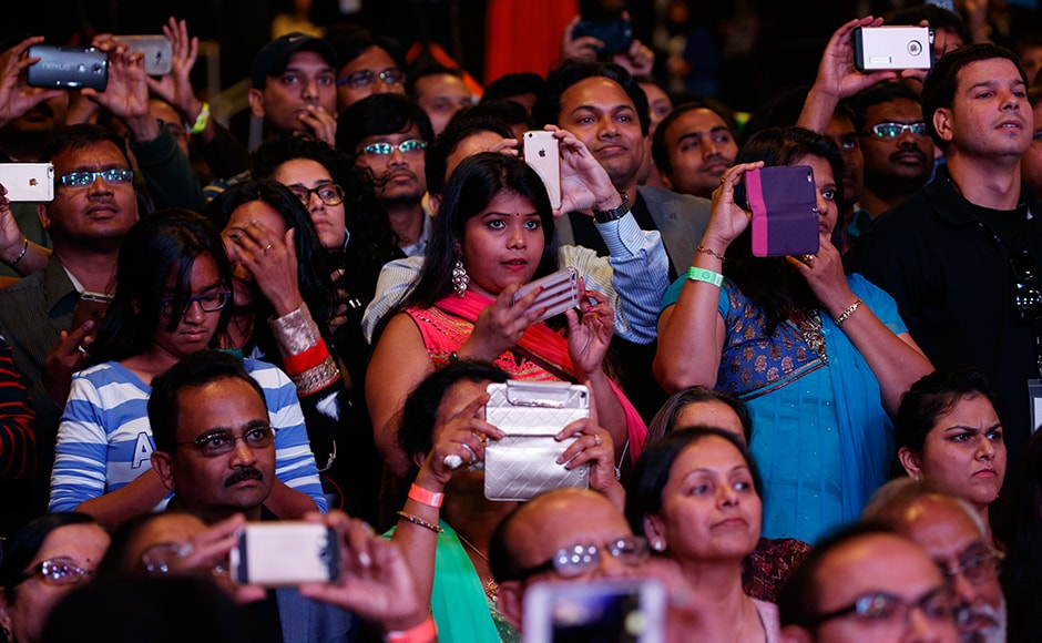 People gathered to listen to Trump's speech. According to experts, the Indian-American community leans overwhelmingly Democratic. Roughly 70 percent plan to vote for Hillary Clinton compared with 7 percent for Trump, according to most polls. AP