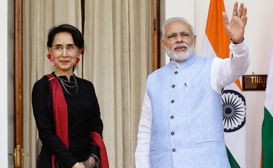 Suu Kyi also met President Pranab Mukherjee and External Affairs Minister Sushma Swaraj. Photo: AP