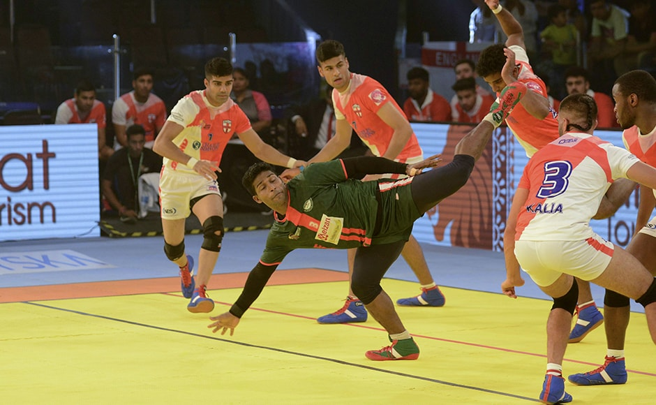 Bangladesh's MD Zakir Hossain in action against England at the Kabaddi World Cup. AFP