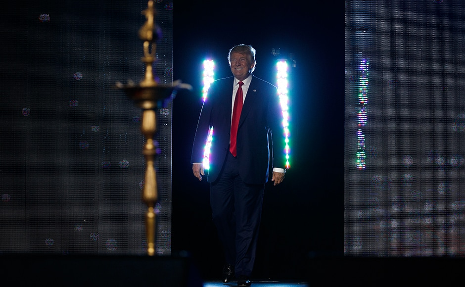 Republican presidential candidate Donald Trump addressed the Republican Hindu Coalition on Saturday in Edison, New Jersey. AP