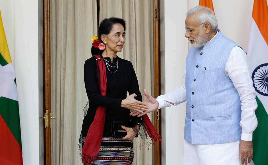 "Modi in the press conference welcomed Suu Kyi to her ""second home"" and said that her clear vision, mature leadership and struggle has inspired people across the world. Photo: AP"