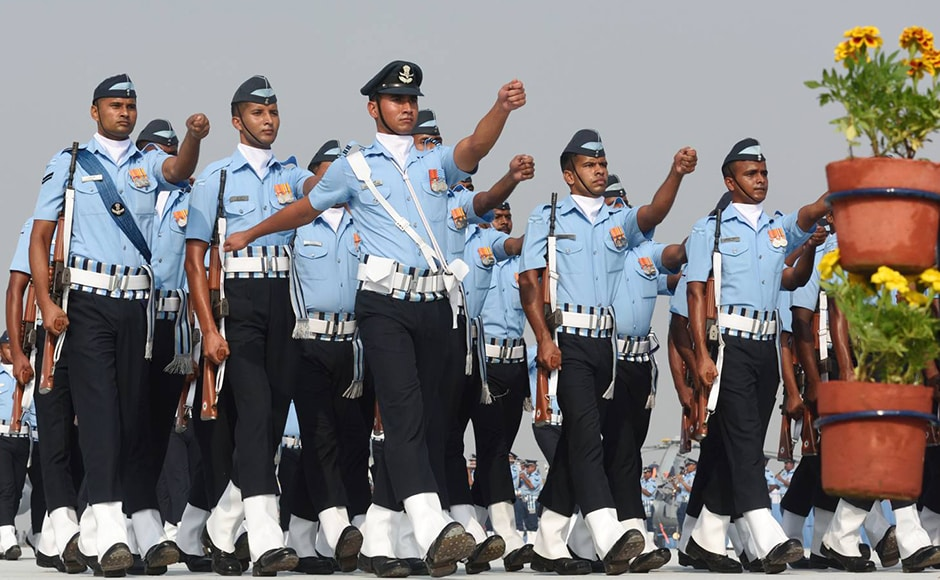 Soldiers of the Indian Air Force display their skills during Air Force day parade. The Indian Air Force celebrated its 84th Foundation Day with a spectacular air display at Air Force Station Hindon in Uttar Pradesh's Ghaziabad district. Naresh Sharma