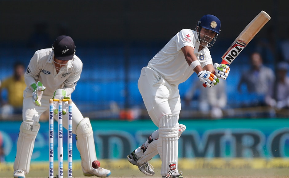 Indian batsman Gautam Gambhir bats during the fourth day of the third test cricket match between India and New Zealand in Indore, India, Tuesday, Oct. 11, 2016. (AP Photo/Rafiq Maqbool)