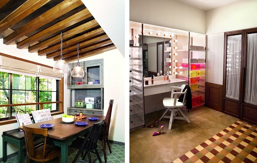 (L) The dining area; (R) The make-up area in Alia's dressing room. Photos courtesy Ashish Sahi. By arrangement with Architecture Digest India