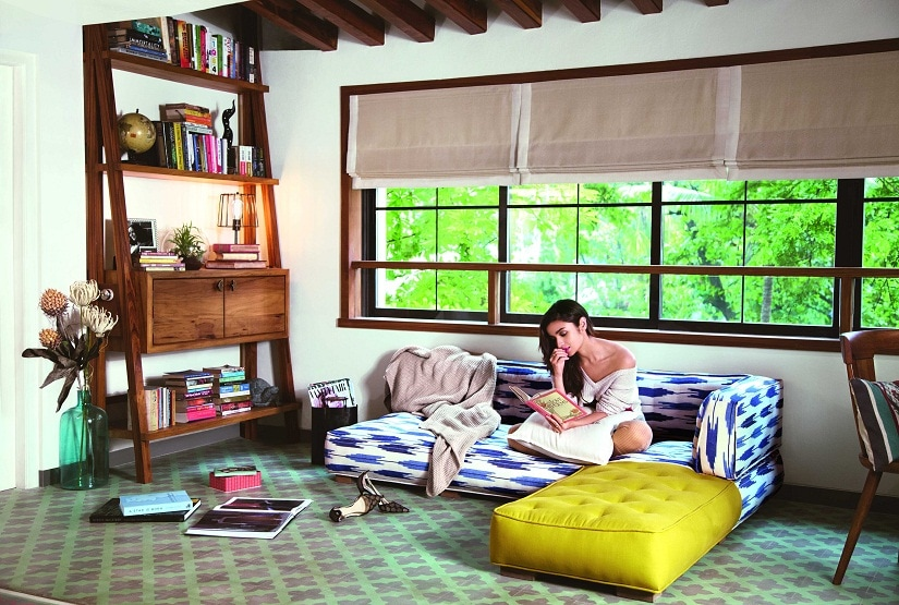 Alia Bhatt in the reading corner of her living room. Photo courtesy Prasad Naik. By special arrangement with Architecture Digest India