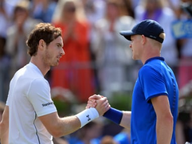 File photo of Andy Murray and Kyle Edmund. AFP