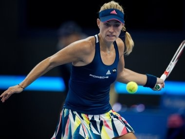 Angelique Kerber hits a return to Elina Svitolina at the China Open. AFP