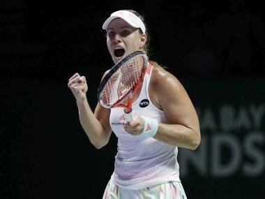 Angelique Kerber celebrates after beating Dominika Cibulkova at the WTA Finals. AP