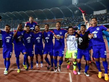 Bengaluru FC celebrate their historic entry into the AFC Cup finals. PTI