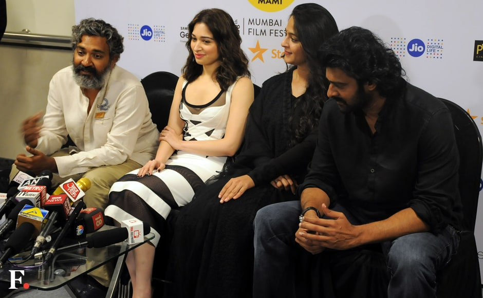 The first look of the film was unveiled in the presence of its team, including director Rajamouli, actor Prabhas and actresses Tamannaah Bhatia and Anushka Shetty. Image by Sachin Gokhale/Firstpost