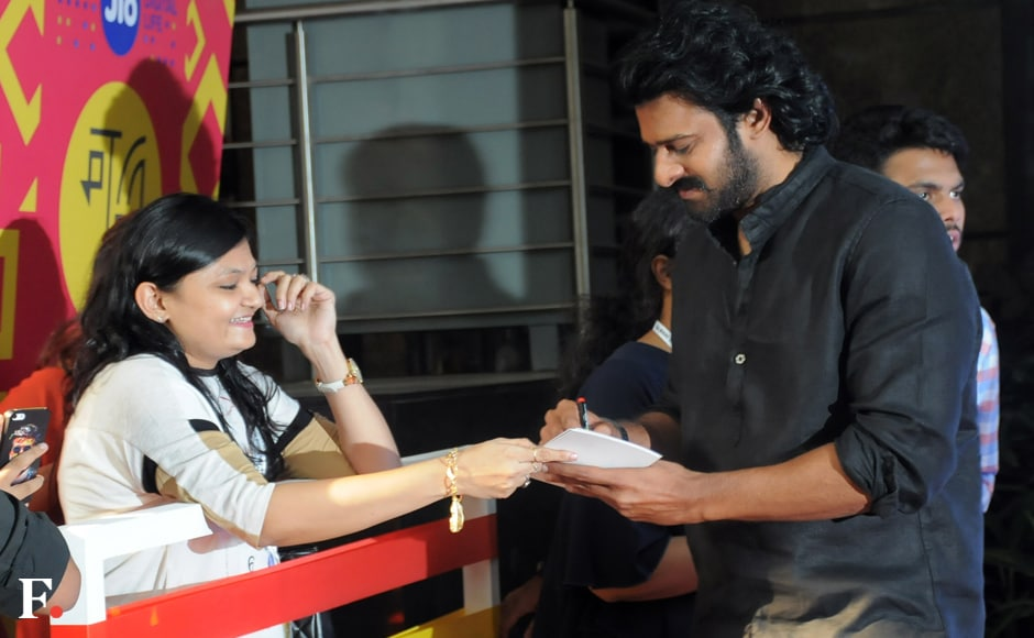 Rajamouli called the poster release a birthday gift to Prabhas. Image by Sachin Gokhale/Firstpost