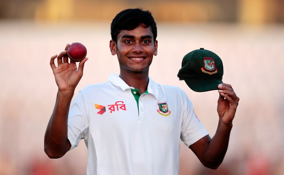 Day 1: Bangladesh's Mehedi Hasan Miraz starred on the first day as he shows the ball and test cap for taking five wickets after end of the first day of the first Test against England. AP