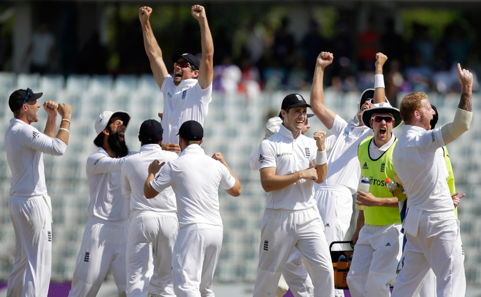 Day 5: England's cricketers celebrate their victory over Bangladesh. The visitors won the first Test by 22 runs. AP