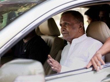 Rajya Sabha MP Beni Prasad Verma leaving after meeting Samajwadi Party supremo Mulayam Singh Yadav at his residence in Lucknow on Saturday. PTI
