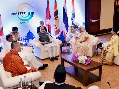 Prime Minister Narendra Modi with the BIMSTEC leaders at a meeting in Mobor, Goa on Sunday. PTI