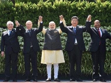 Prime Minister Narendra Modi with other Brics leaders in Goa. PTI