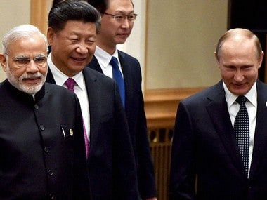 India Prime Minister Narendra Modi, Chinse President Xi Jinping and Russian President Vladimir Putin in a file photo. PTI