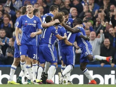 Chelsea players celebrate. AP
