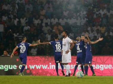 Chennaiyin FC players celebrate scoring a goal during their match against NEUFC. ISL