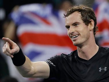 Andy Murray of Britain celebrates after defeating Gilles Simon of France in the men's singles semifinals match of the Shanghai Masters. AP