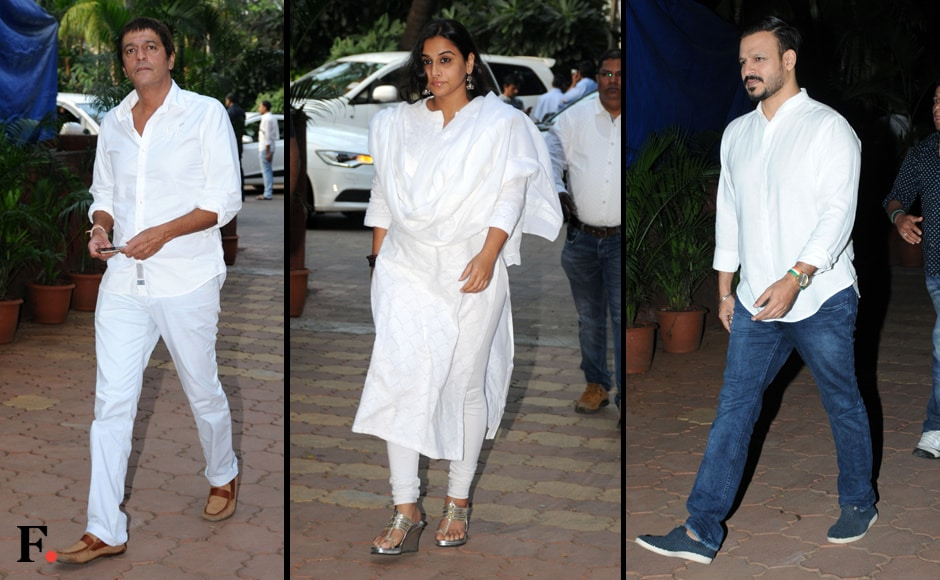 Chunky Pandey, Vidya Balan and Vivek Oberoi arrive to pay their respects. Sachin Gokhale/Firstpost