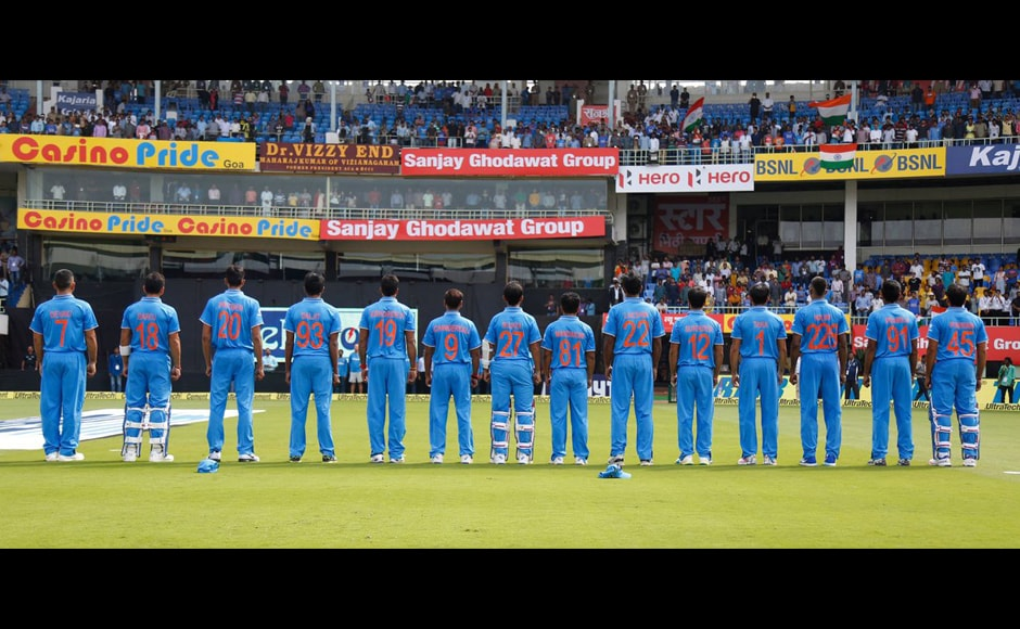 Indian team on Saturday sported jerseys with their mothers' names during the decider against New Zealand in Vizag in an attempt to promote gender equality. Image courtesy: Twitter/ BCCI