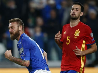 Italy's Daniele De Rossi celebrates after scoring a goal during the World Cup qualifier between Italy and Spain. AFP