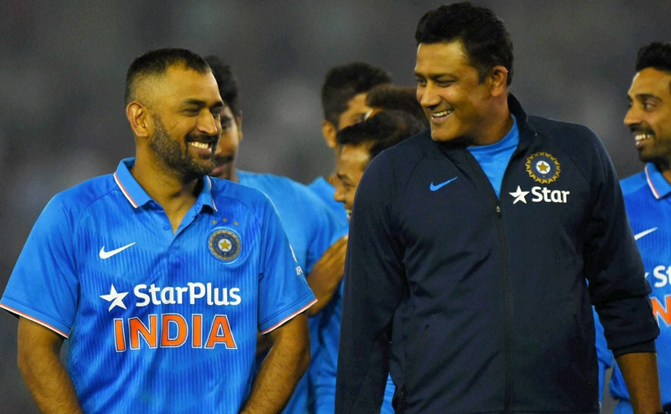 The captain and the coach! Dhoni and Anil Kumble are happy campers after India take a 2-1 lead in India's ODI series against New Zealand. PTI
