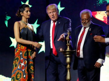 Donald Trump at the Hindu Republican charity event in New Jersey/ Reuters