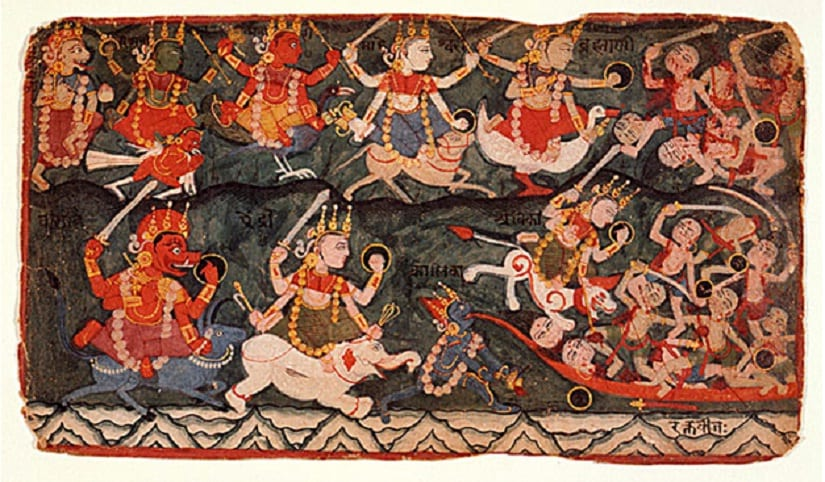Kali devouring all of Raktabija's blood to annihilate him. Image courtesy: en.academic.ru