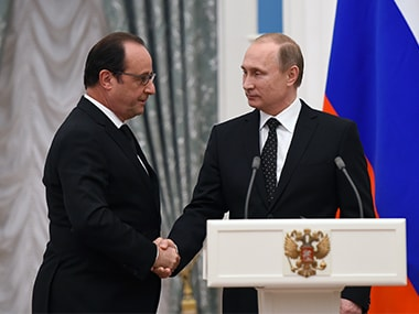 A file photo of Francois Hollande and Vladimir Putin. AFP