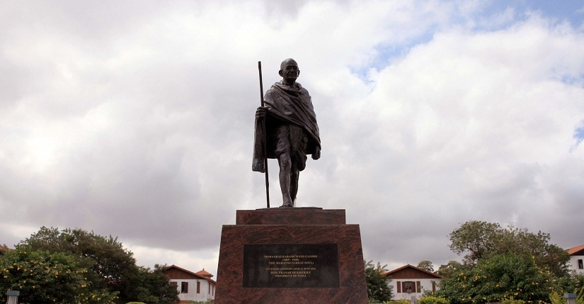 A statue of Indian independence leader Mahatma Gandhi in Accra, Ghana, Thursday, Sept. 22, 2016. Professors at a university in Ghana's capital are campaigning for the removal of a new statue of Indian independence leader Mahatma Gandhi.(AP Photo/Christian Thompson)