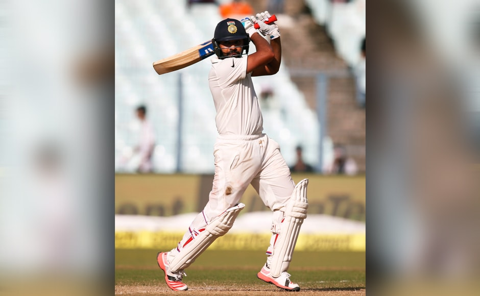 The final session of the day belonged to Rohit Sharma, however. The Mumbai batsman started off fluently, smashing two sixes, before settling down for a 103-run seventh wicket partnership with Ravi Ashwin. AP