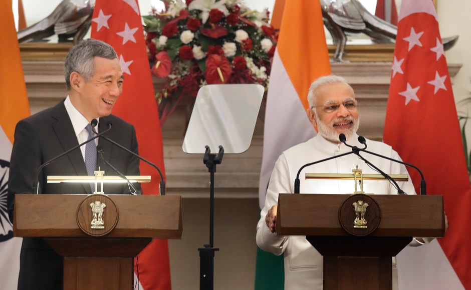 Prime Minister Narendra Modi makes a media statement beside his Singapore counterpart Lee Hsien Loong in New Delhi, India on Tuesday. AP