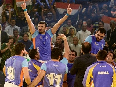 Indian players celebrate after winning their third Kabaddi World Cup. PTI