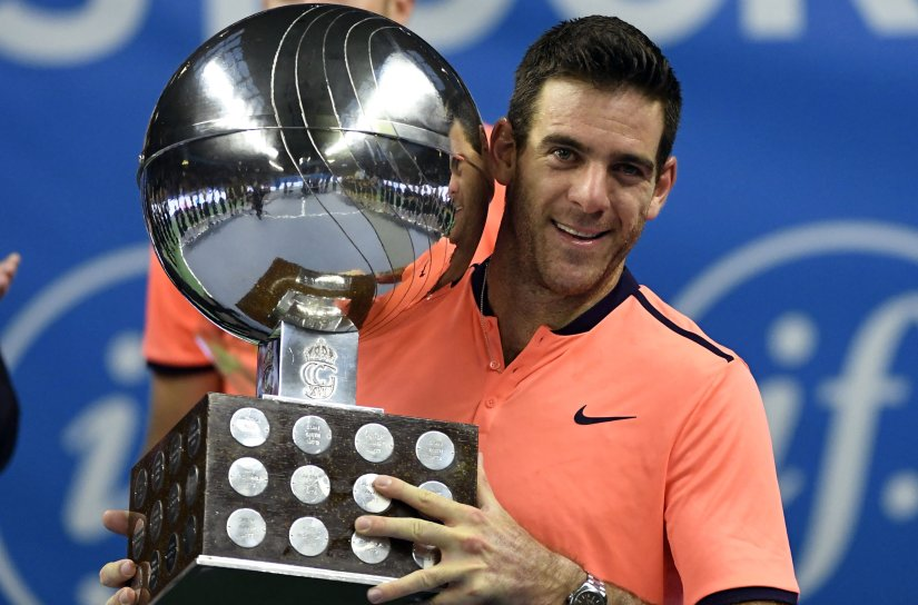 Juan Martin del Potro celebrates with the trophy after defeating Jack Sock at the Stockholm Open. AP