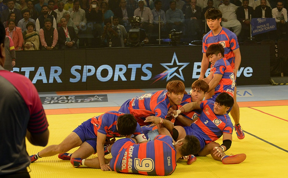 South Korea upset India 32-34 in the inaugural match of the ongoing Kabaddi World Cup. AFP