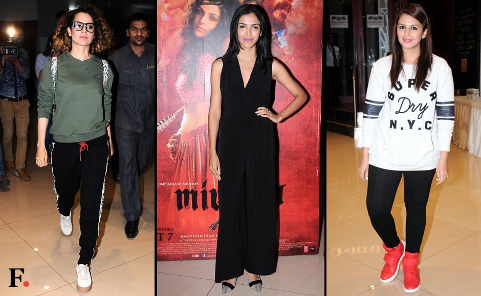(L-R) Kangana Ranaut rocked the athleisure trend; Shriya Pilgaonkar and Huma Qureshi were the other guests at the screening. Image by Sachin Gokhale/Firstpost