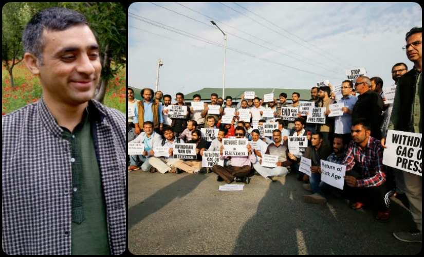 Mir Hilal, a protest in solidarity with 'Kashmir Reader's' ban.