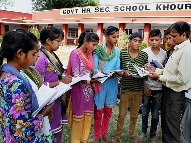 Jammu: A teacher taking a class at Government Higher Secondary School, Khour in Akhnoor sector in Jammu on Friday. PTI