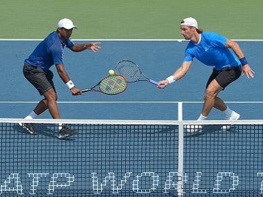 File photo of Leander Paes of India and Andre Begemann of Germany. Getty