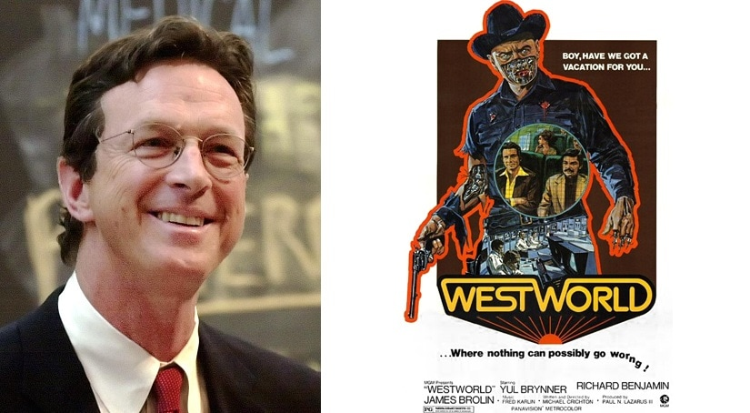 (L-R) Michael Crichton, director of the 1973 film Westworld and a poster of the film